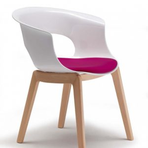 White polycarbonate Armchair with Beech Legs and cushion - Pack of 2