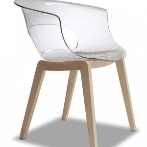 Transparent Armchair with Beech Legs - Pack of 2