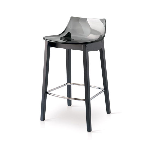 Polycarbonate Stool with Wooden legs pack of 2
